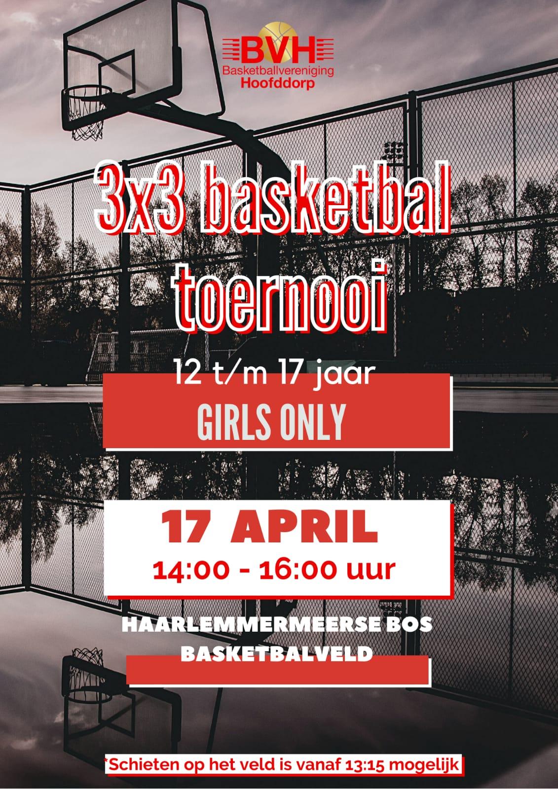 3x3 Girls only basketbal toernooi op 17 april