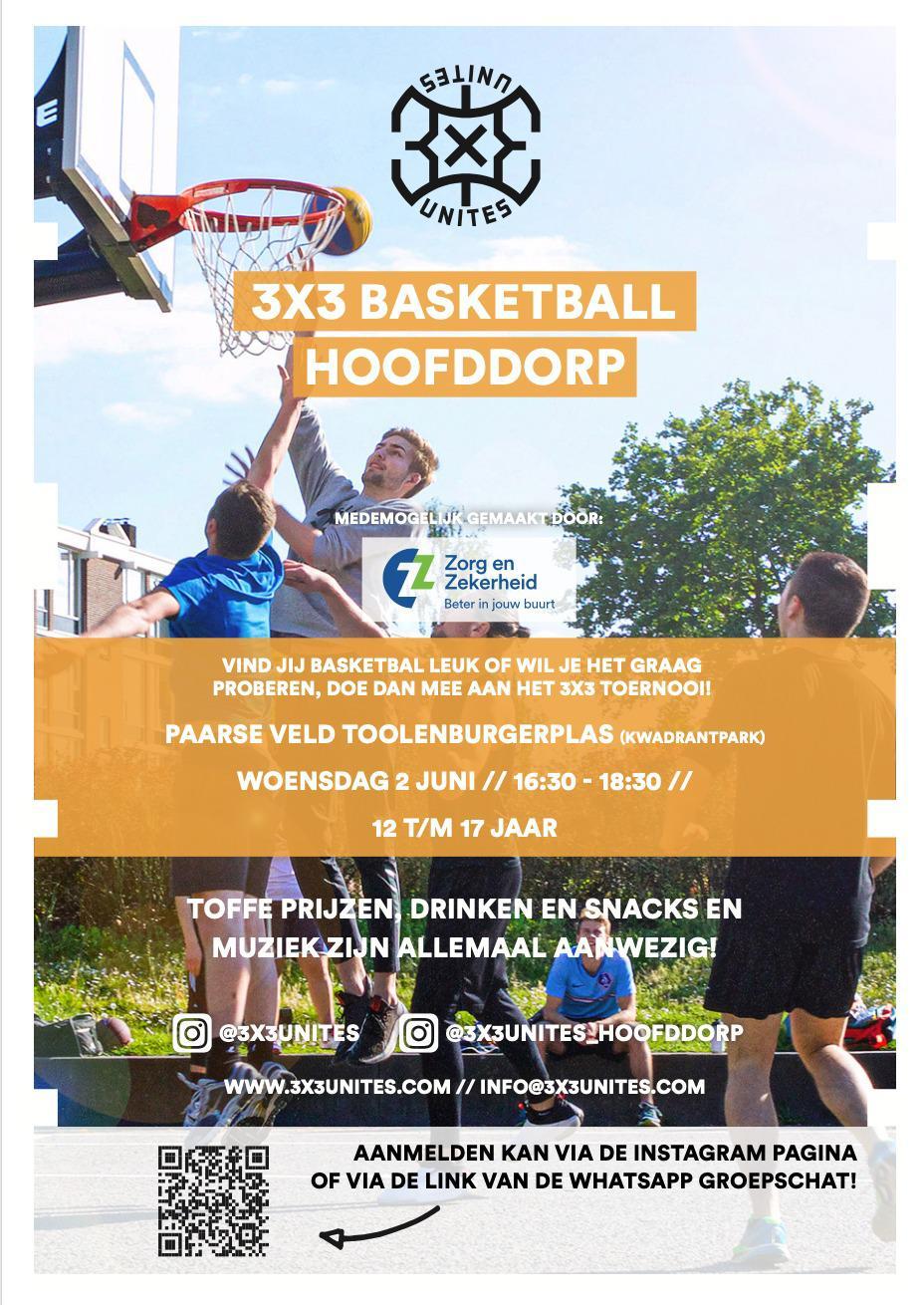 3x3 Basketbaltoernooi op woensdag 2 juni